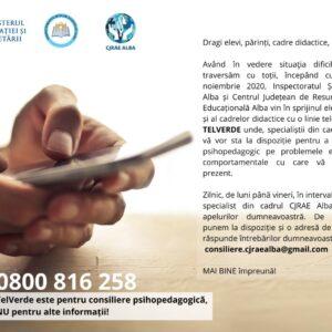 Planul județean de intervenție educațională pentru situația suspendării cursurilor din învățământul preuniversitar la nivelul CJRAE Alba